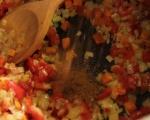 Пилешка супа с нахут и печени чушки  5