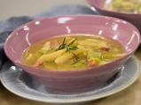 Супа от праз, бекон и паста