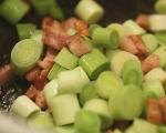 Супа от праз, бекон и паста 5